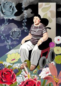 Ilustración relato Non deixarse vencer por unha cadeira de rodas
