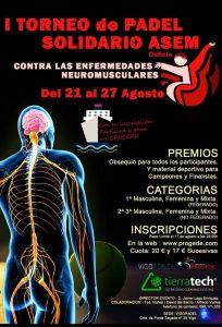 Cartel torneo de padel en beneficio de Asem Galicia